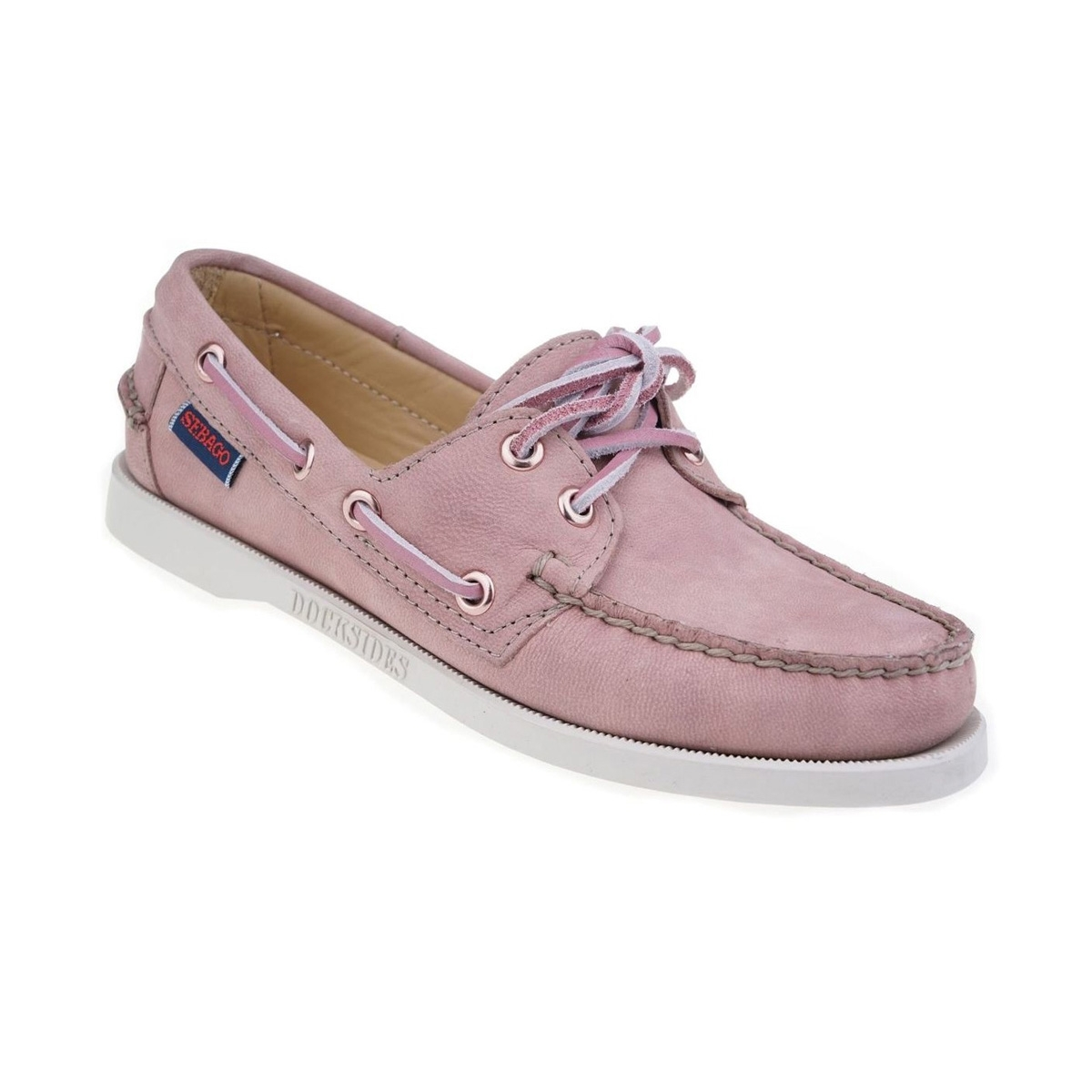 sebago docksides shoe s mauve leather uttings