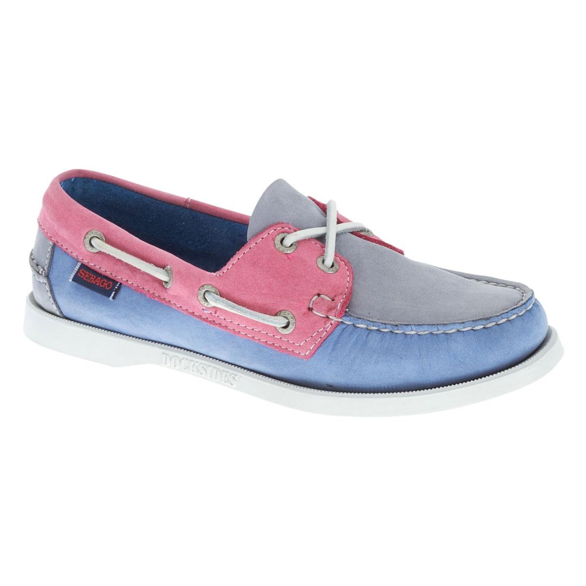 Image of Sebago Spinnaker Shoe (Women's) - Grey/Light Blue/Pink Nubuck