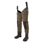 Image of Snowbee Granite 4mm Neoprene Bootfoot Thigh Waders - Cleated Sole - Olive Green