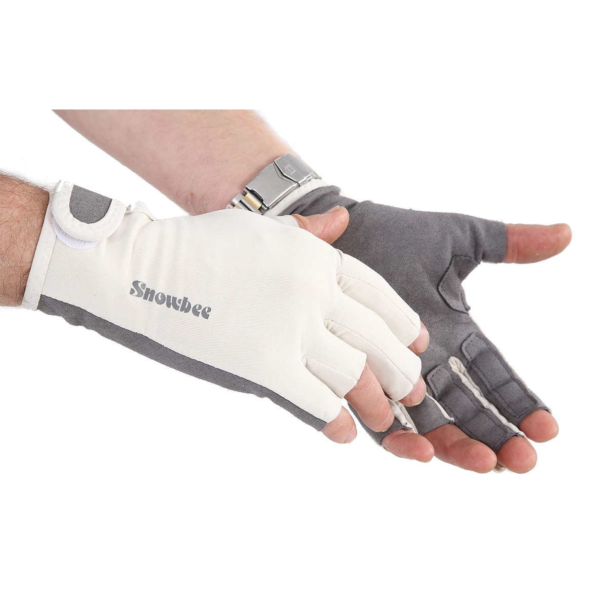 Snowbee sun gloves with stripping fingers white for Fishing sun gloves