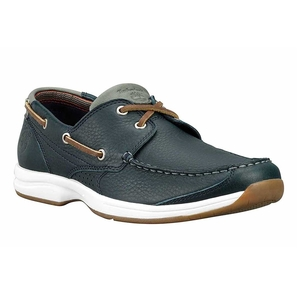 Image of Timberland Earthkeepers Hulls Cove 2-Eye Boat Shoe (Men's) - Navy Tumbled Full Grain