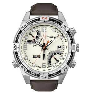 Image of Timex IQ Fly-back Chrono - Brown Leather Strap