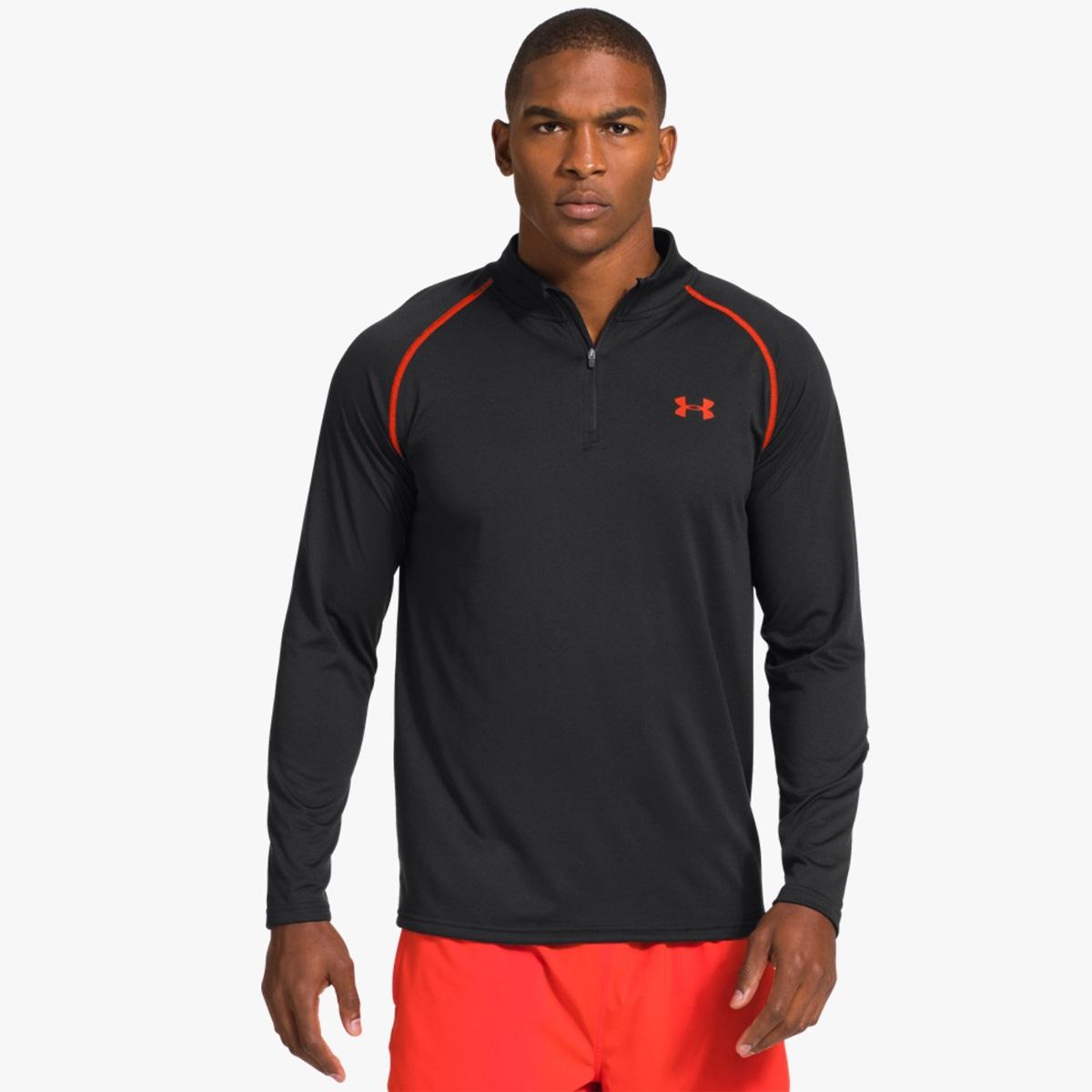 under armour 1 4 zip top. image of under armour heatgear tech 1/4 zip shirt - black / volcano 1 4 top